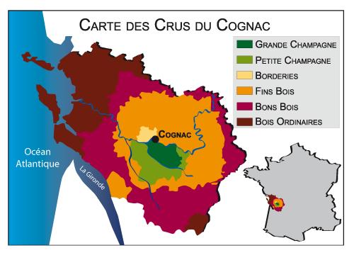 Carte des crus du Cognac